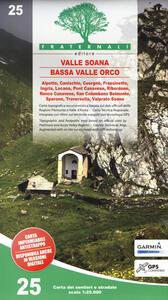 Carta n. 25. Valle Soana, Bassa Valle Orco. Carta dei sentieri e stradale 1:25.000. Adatto a GPS