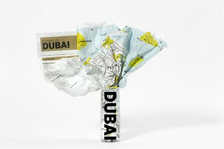 Crumpled city map. Dubai