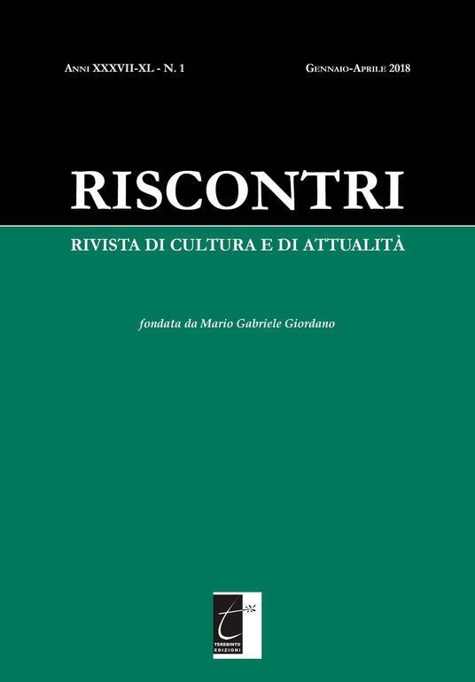 Riscontri. Rivista di cultura e di attualità (2018). Vol. 1: Gennaio-Aprile. - copertina
