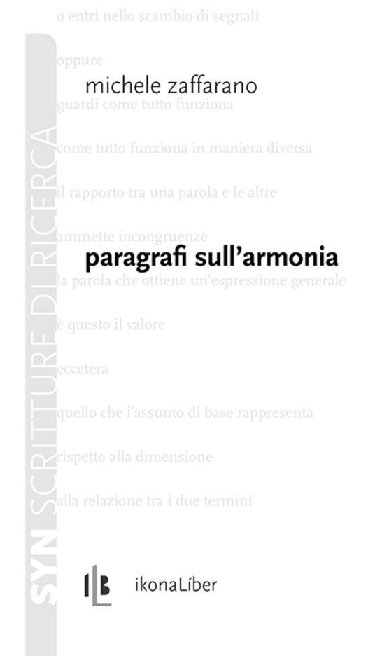 Paragrafi sull'armonia - Michele Zaffarano - copertina