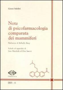Note di psicofarmacologia comparata dei mammiferi - Gianni Tadolini - copertina