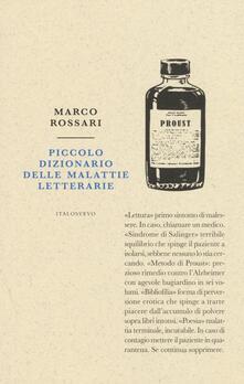 Piccolo dizionario delle malattie letterarie - Marco Rossari - copertina