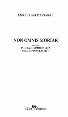 Non omnis moriaa ovvero poesia e immortalità nel mondo classico - Enrico Baldassarre - copertina
