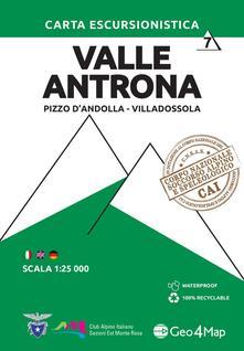Ipabsantonioabatetrino.it Carta escursionistica valle Antrona. Scala 1:25.000. Ediz. italiana, inglese e tedesca. Vol. 7: Pizzo d'Andolla, Villadossola. Image