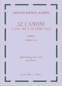 52 canoni a due, tre e quattro voci (rist. anast. Venezia, 1785). Ediz. speciale